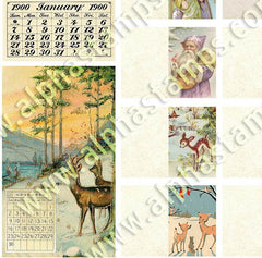 Snowy Winter Scenes with Deer Half Sheet