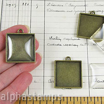 Antique Bronze Square Pendant with Glass*