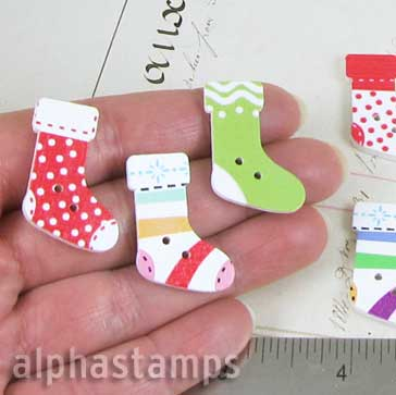Printed Wooden Christmas Stockings Buttons
