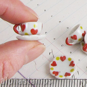 Ceramic Tea Cup & Saucer Set w Hearts
