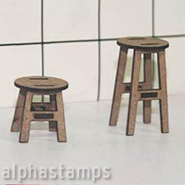 Set of Stools - Half Inch Scale