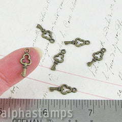 Tiny Antique Bronze Keys