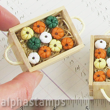 Wooden Crate with Pumpkins