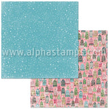 Christmas In The Village Tiny Houses Scrapbook Paper