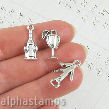 Silver Cocktail Charm Set