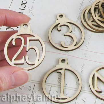 1-25 Wooden Christmas Advent Calendar Round Tags