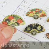 Colorful Fan Wooden Buttons - Set of 2
