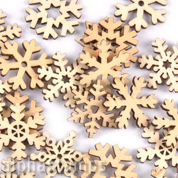 1 Inch Wooden Snowflake Mix
