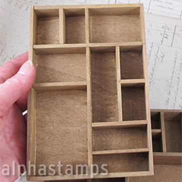 Mini Wooden Printer's Type Tray Shadowbox