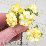 1 Inch Curly Paper Roses - Variegated Yellow*