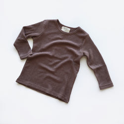 Long Sleeve Basic Tee - Brown