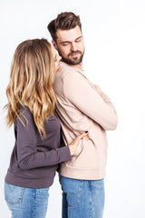 """Hold me"" sweater for him. Be-with clothing for hugs"