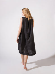 Dress Linen - Black and Night