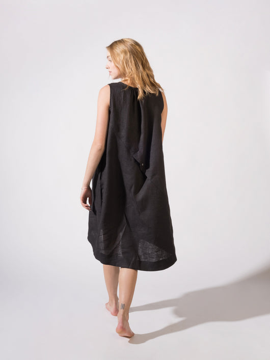 Linen Dress Black and Night