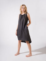 """Be-with"" Linen Dress Black and Night"