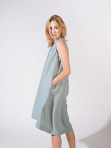 """Be-with"" Linen Dress Aqua"