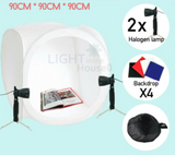 90cm Photography Product Soft Box light tent with 4 backdrops and 2 Halogen Lights