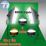 Portable Digital Green Screen with 5 Soft Box LED remote adjustable lights (Boom Arm)
