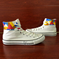 3e816a832349 Custom Converse All Star Hand Painted Shoes Geometry High Top Canvas  Sneakers