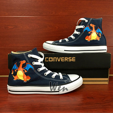 21110df5764b Blue Women Men s Converse All Star Hand Painted Shoes Pokemon Charizard  Dragon