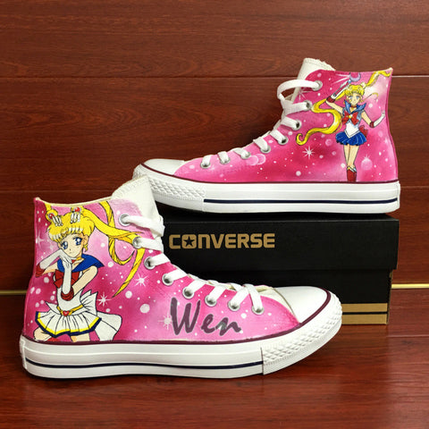 46a5419fc279 Anime Sailor Moon Design Converse All Star Hand Painted Shoes Pink Sne –  Wenartwork