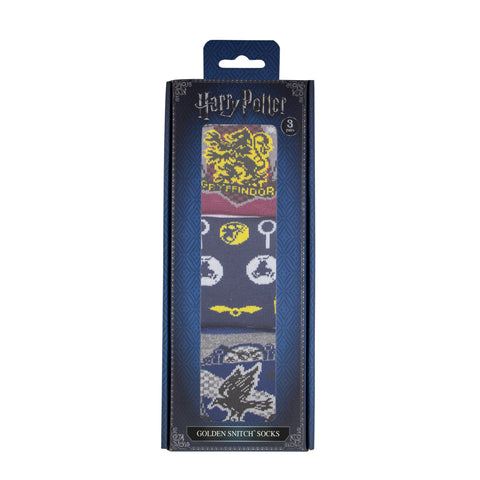 Chaussettes Harry Potter Edition Deluxe - Set de 3 Paires - Quidditch Vif d'Or (Golden Snitch)