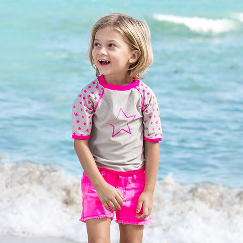 T-shirt Anti-UV - maillot de bain enfant - Fille - Girl Power