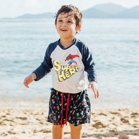 T-Shirt Anti-UV + Cape - Maillot de bain bébé & enfant - Super Hero