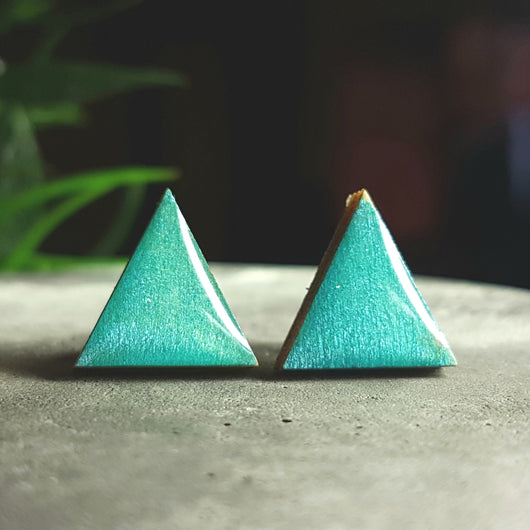 Turquoise wood studs