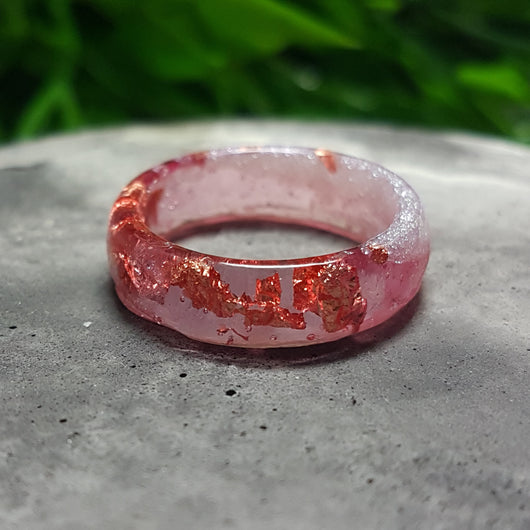 Pink marble resin ring