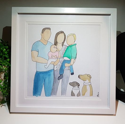 Ohana Family Watercolour Portrait