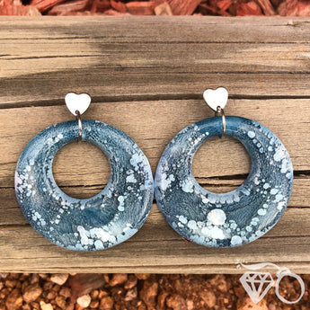 ArtWear Denim one of a kind large hoop earrings