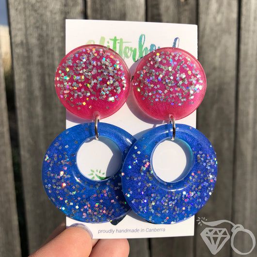 Statement double drop stud earrings - pink + blue
