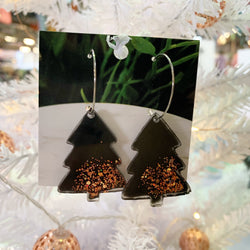 Christmas hoops - Black and rose gold trees