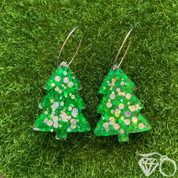 Christmas hoops - Green and silver trees