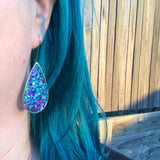 Heavy Metal Teardrop statement glitter earrings
