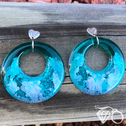 ArtWear (s)Teal My Heart one of a kind large hoop earrings