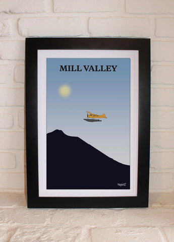 Seaplane over Mt Tamalpais, Blue
