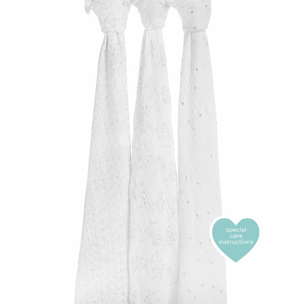 Aden and Anais Classic Swaddles Metallic Silver Deco 3Pk