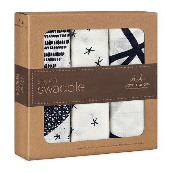 Aden and Anais Silky Soft Swaddles Midnight 3Pk