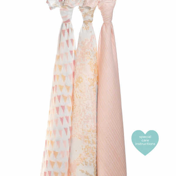 Aden and Anais Metallic Primrose Birch Swaddles