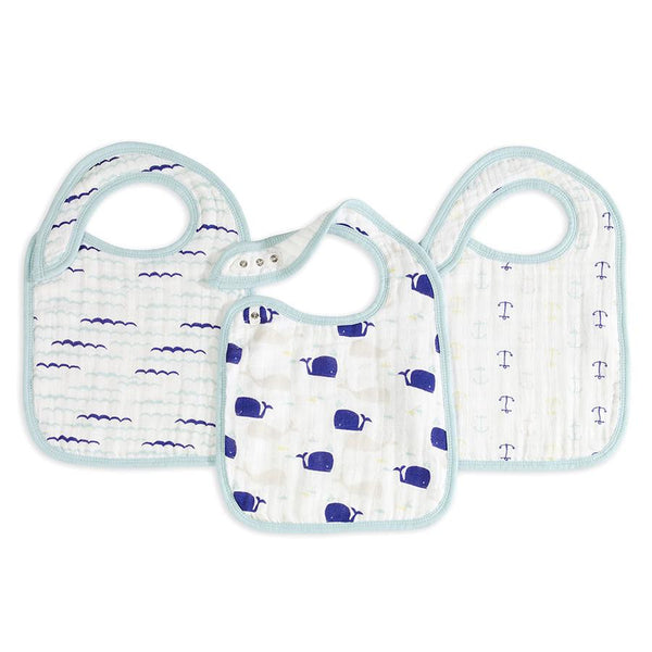 Aden and Anais Classic Snap Bibs High Seas Wave, Blue Whale Anchor