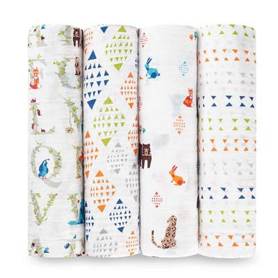 Aden and Anais Classic Swaddles Paper Tales 4Pk
