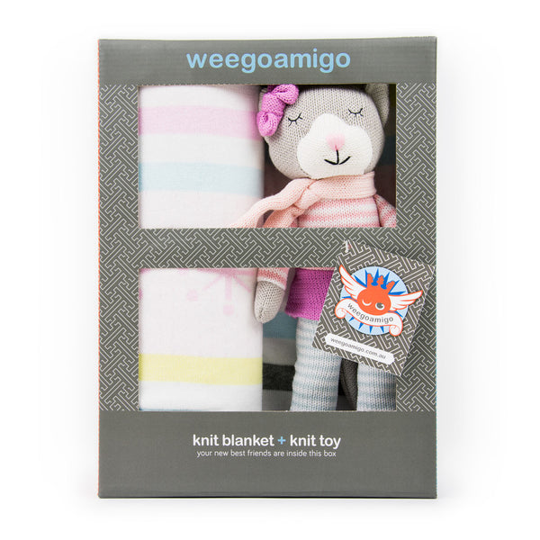 Weegoamigo Gift Boxed Knitted Toy + Blanket - Kapow Kitty