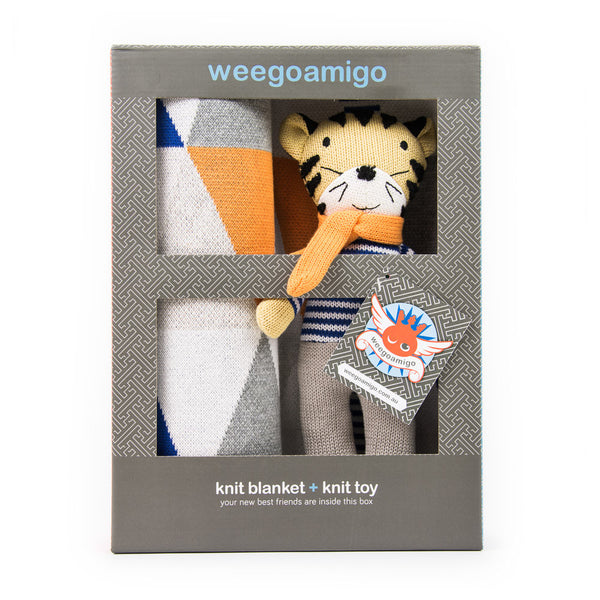 Weegoamigo Gift Boxed Knitted Toy + Blanket - Toothless Tiger