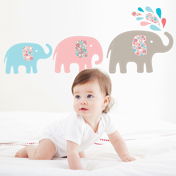 Speckled House Baby Elephants Wall Decal