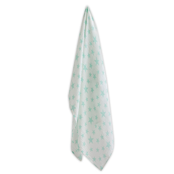 The Little Linen Baby Muslin - Seafoam Stars