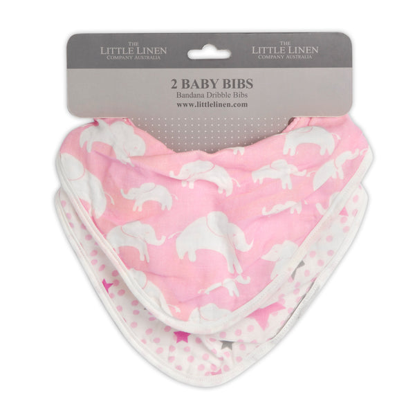 The Little Linen Co Muslin Bib - Pink Elephant