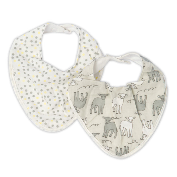The Little Linen Co Muslin Bib - Yellow Lamb