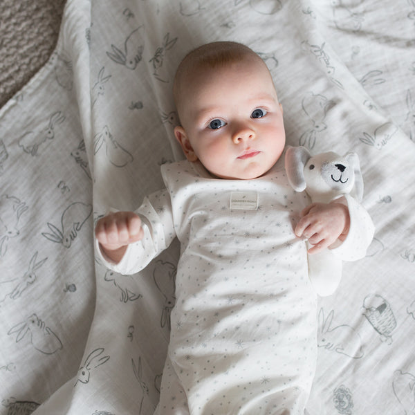 The Little Linen Co Muslin Wrap + Crinkle Toy - Ivory Bunny